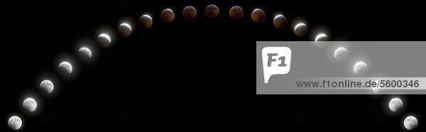 COMPOSITE: Sequenzielle Zeit verfallen Ansicht von einer totalen Mondfinsternis