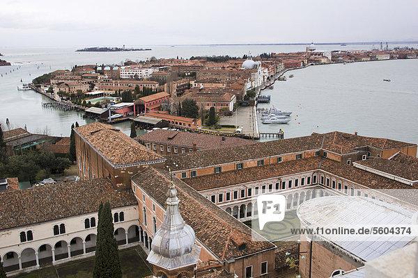 View over the island of San Giorgio Maggiore from St Mark's Campanile  Venice  Italy  Europe