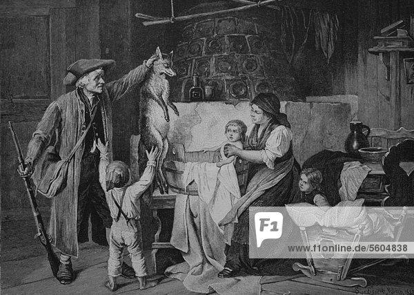 Jäger bringt erlegten Fuchs mit nach Hause  historischer Stich  1883