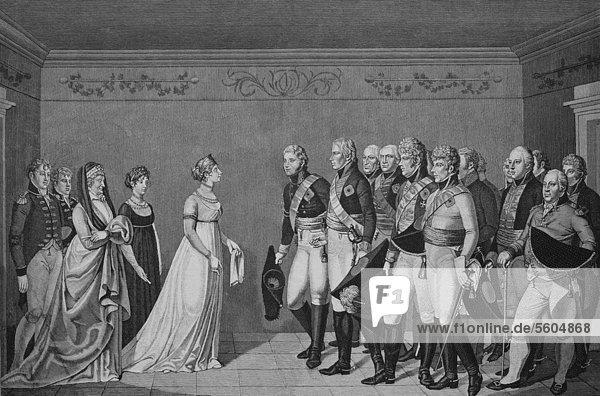 Begegnung der Königin Luise mit Kaiser Alexander I am 10.11.1802  historischer Stich  1883