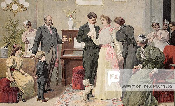 Brautpaar beim Ja-Wort  historischer Stich  ca. 1885