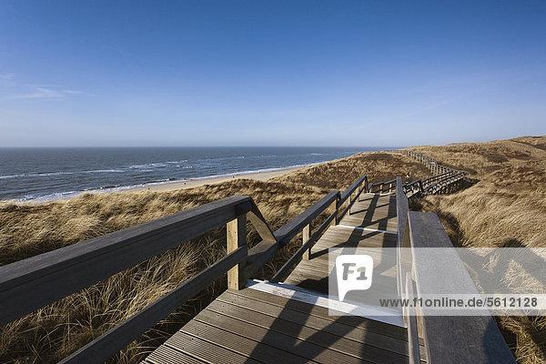 Wooden way in dunes  Sylt  Schleswig-Holstein  Germany  Europe
