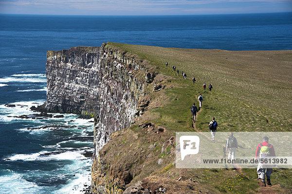 Trekkinggruppe auf dem Vogelfelsen L·trabjarg  Westfjorde  Island  Europa