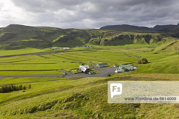 nahe Europa Schutz Bauernhof Hof Höfe Vík í Mýrdal Island Ort Nordeuropa