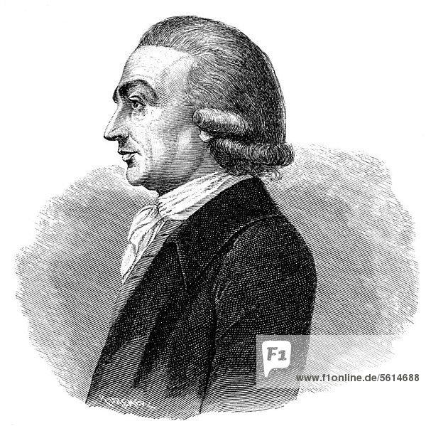 Historische Zeichnung aus dem 19. Jahrhundert  Portrait von Johann Georg Hamann  1730 - 1788  ein deutscher Philosoph und Schriftsteller