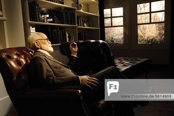 Sigmund Freud as a wax figure in Madame Tussauds Wax Museum  Unter den Linden 74  Berlin  Germany  Europe