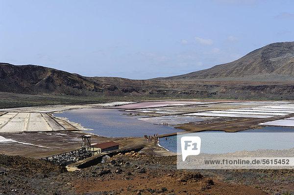 Saltworks in the crater of Pedra de Lume  Sal  Cape Verde  Africa