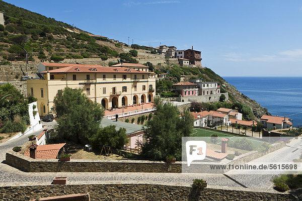 Prison island of Isola di Gorgona  Penitenziario dell'isola di Gorgona  Tuscany  Italy  Europe