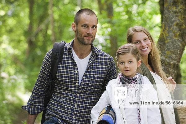 Family in woods  portrait