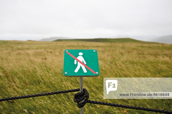 No walking sign posted for environmental protection in nature reserve  DyrhÛlaey peninsula  Iceland
