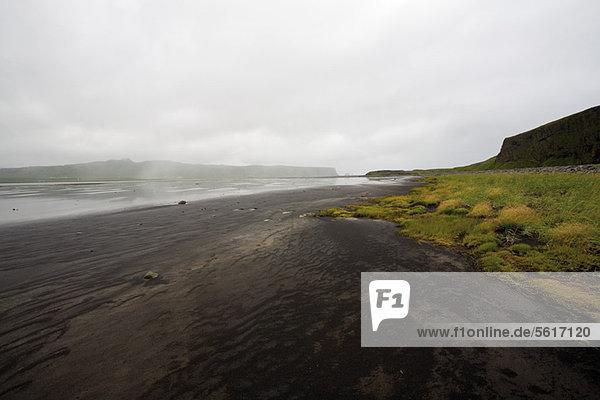 Schwarzer Sandstrand  Halbinsel DyrhÛlaey  Island