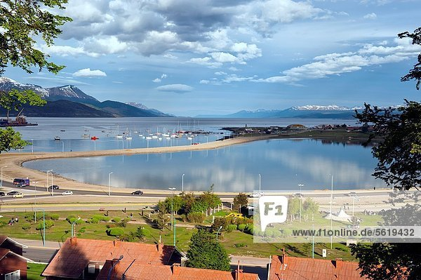 Ushuaia  view to the old airport and a marina  Fireland  Patagonia  Argentina