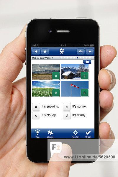 Iphone  Smartphone  App auf dem Display  Sprachentrainer  Englisch lernen
