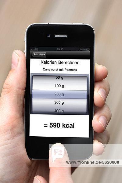 Iphone  Smartphone  App auf dem Display  Kalorienrechner