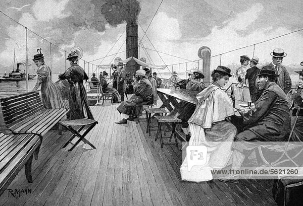 Auf dem Deck eines Bodenseedampfers  historischer Holzstich  ca. 1897 Auf dem Deck eines Bodenseedampfers, historischer Holzstich, ca. 1897