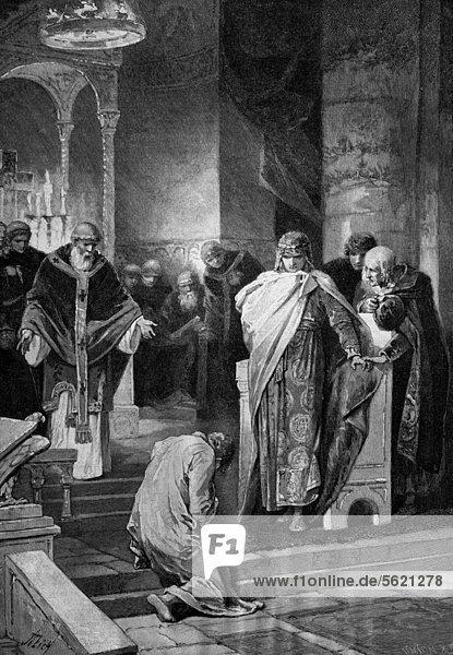 Otto I.  der Große  912 - 973  vergibt seinem Bruder Heinrich  historischer Holzstich  ca. 1897