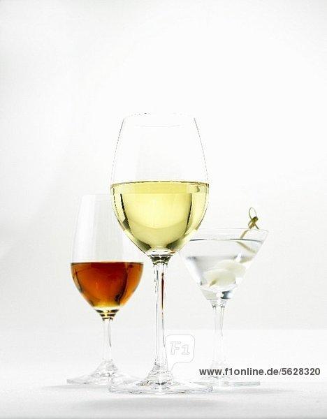 Weissweinglas  Martiniglas und Sherryglas