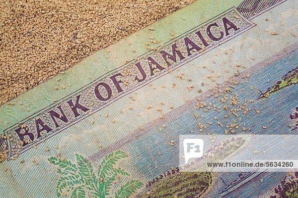 hoch  oben  nahe  Hintergrund  Sand  rauh  Bank  Kreditinstitut  Banken  Währung  Jamaika