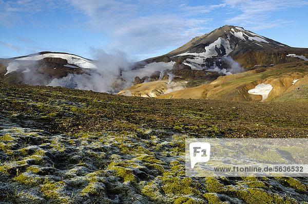 Moos  heiße Quellen und mit Schnee bedeckte Rhyolith-Berge  Hochtemperaturgebiet Hveradalir  Kerlingarfjöll  Hochland  Island  Europa
