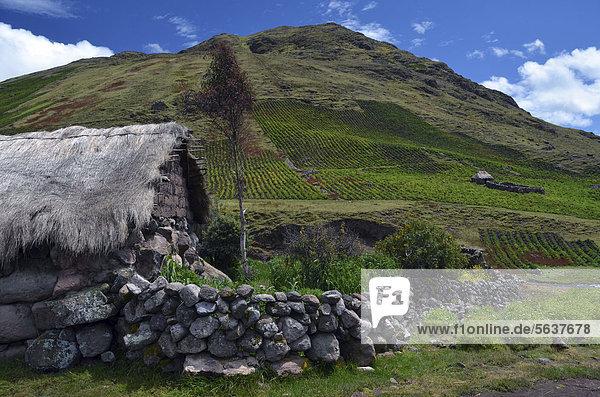 hoch oben Bauernhaus Berg Anden Peru Südamerika