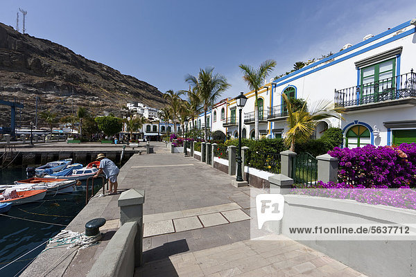 Residential homes at the harbour of Puerto de Mogan  Gran Canaria  Canary Islands  Spain  Europe  PublicGround