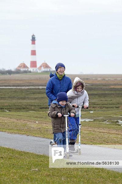Europa Deutschland Schleswig-Holstein Westerhever Leuchtturm