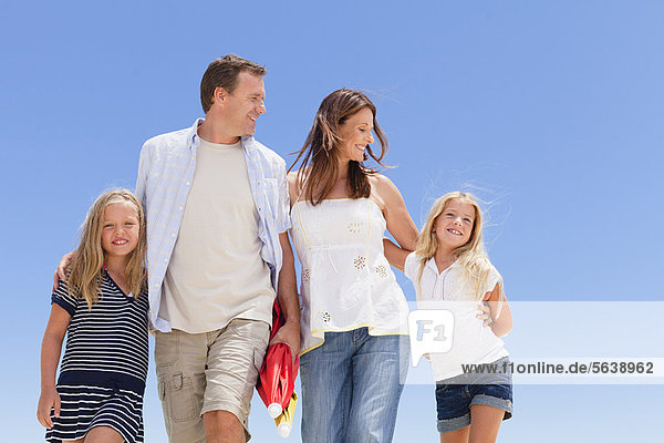 Family walking together outdoors