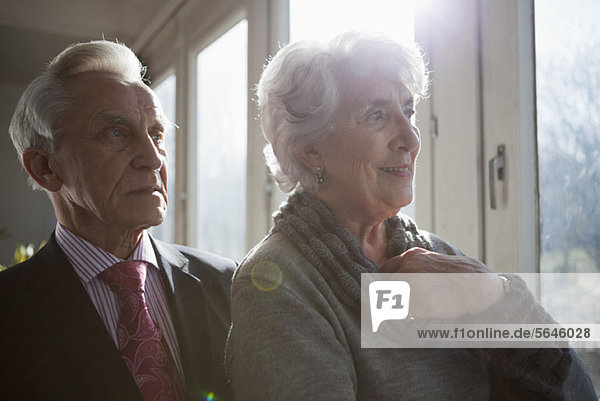 A senior couple looking out a window at the view