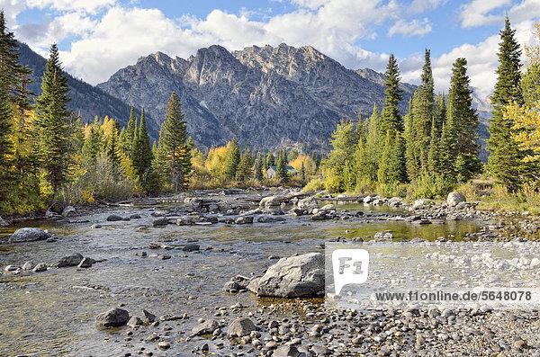 Cottonwood Creek mit Rockchuck Peak  Grand Teton National Park  Wyoming  USA