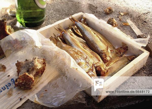Griechenland  Fisch im Kasten mit Brot und leerer Bierflasche