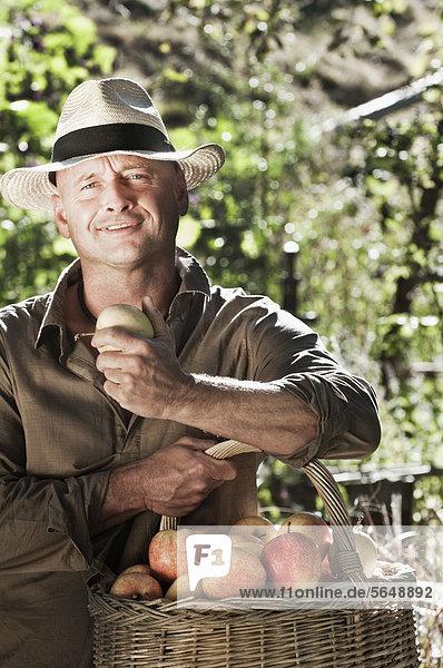 Österreich  Salzburg  Flachau  Reifer Mann mit Äpfeln im Garten  lächelnd  Portrait