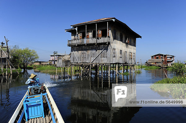 Floating village on Lake Inle as seen from a boat  Burma also known as Myanmar  Southeast Asia  Asia