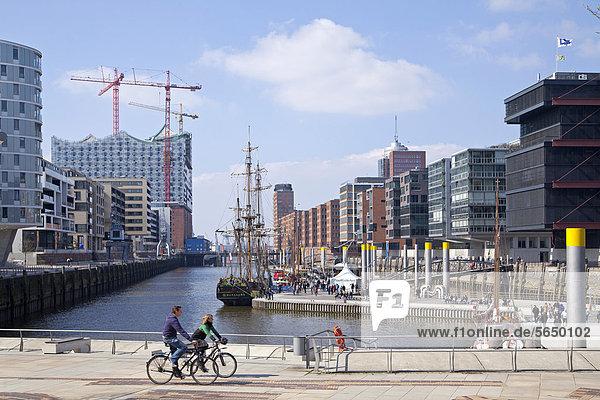 Sandtorkai with Elbphilharmonie Concert Hall  HafenCity  Hamburg  Germany  Europe  PublicGround