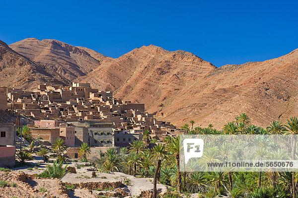 Berg Landschaft klein Tal frontal Dorf rot Afrika Lehm Hain Marokko