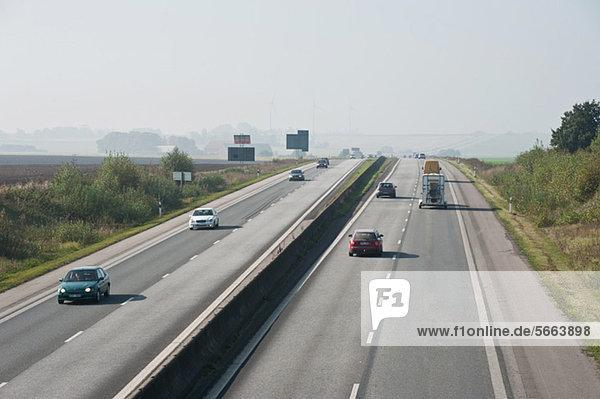 Moving traffic on four lane highway
