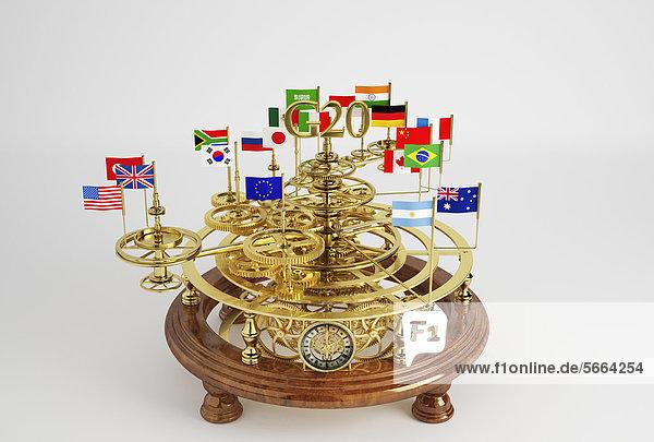 G20-Flaggen auf einem Sonnensystem-Modell