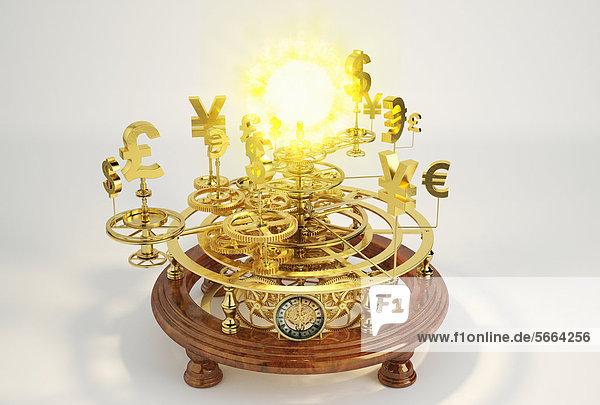 Goldene Währungssymbole auf einem Sonnensystem-Modell mit Sonne