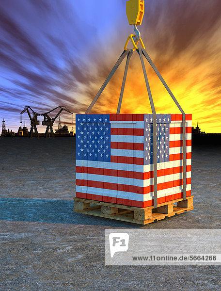 Kran hebt eine Palette mit amerikanischer Flagge