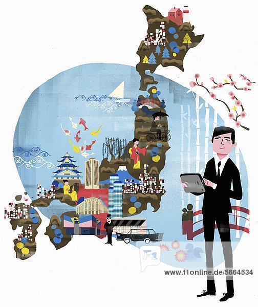 Fremdenführer im Anzug mit Tablet-PC vor einer Karte von Japan