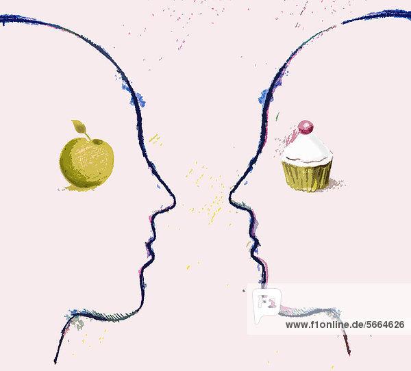 Zwei Gesichter mit Apfel und Cupcake sehen sich in die Augen