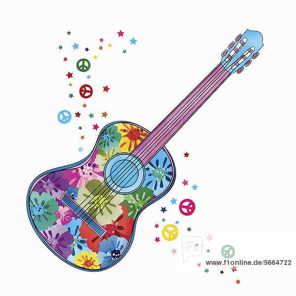 Blumen auf einer bunten Gitarre und Friedenssymbole auf weißem Hintergrund Blumen auf einer bunten Gitarre und Friedenssymbole auf weißem Hintergrund