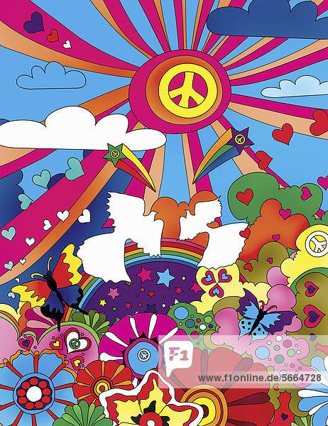 Buntes Muster mit Liebes- und Friedenssymbolen Buntes Muster mit Liebes- und Friedenssymbolen