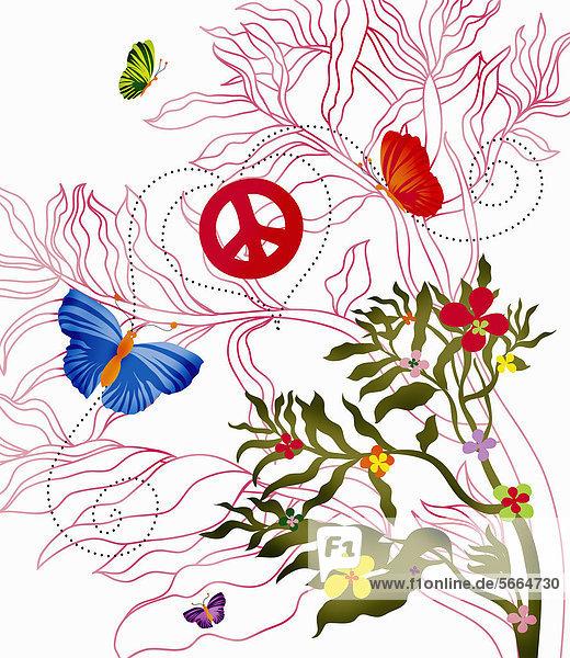 Blumen und Schmetterlinge mit Friedenssymbolen Blumen und Schmetterlinge mit Friedenssymbolen