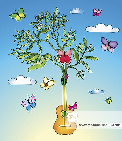 Schmetterlinge umgeben eine Pflanze  die aus einer Gitarre wächst Schmetterlinge umgeben eine Pflanze, die aus einer Gitarre wächst