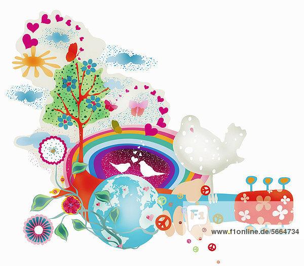 Globus mit einer Collage von Symbolen Globus mit einer Collage von Symbolen