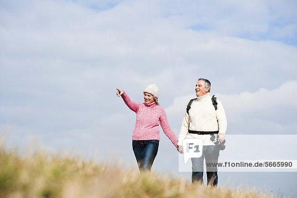 Paar geht Hand in Hand auf einer Wiese spazieren