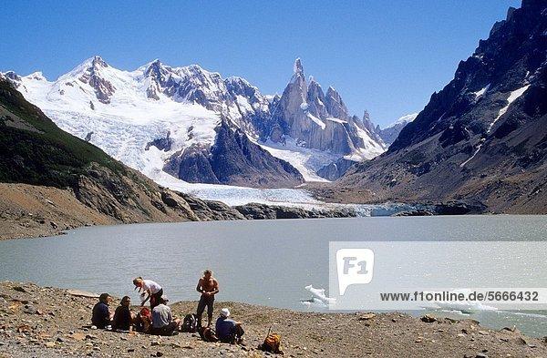 Laguna Torre  Cerro Torre at the rear El Chalten Los Andes mountain range Los Glaciares National Park Santa Cruz province Patagonia Argentina