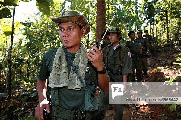 nahe, zuhören, Mensch, Menschen, Ergebnis, Soldat, Gerät, Siedlung, Myanmar, 200, Grenze, Thailand