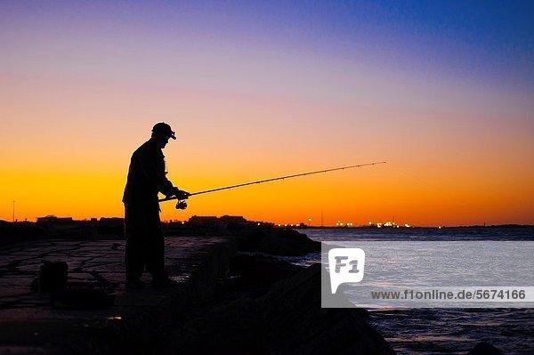 Sonnenuntergang  Silhouette  angeln  Fischer  Stange