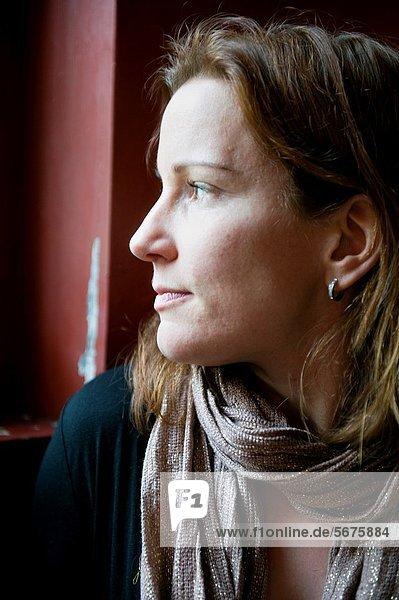 Frau  Fenster  Dunkelheit  Cafe  braunhaarig  jung  hinaussehen  blond